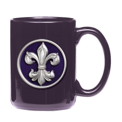 Fleur de Lis #3 Purple Coffee Cup - Enameled