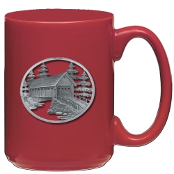Covered Bridge Red Coffee Cup