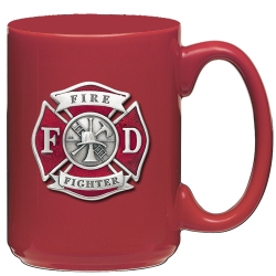 Firefighter Red Coffee Cup - Enameled