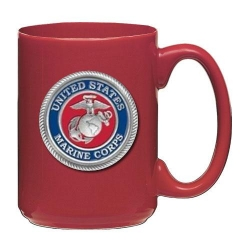 "Marine Corps ""USMC"" Red Coffee Cup - Enameled"