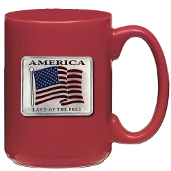 US Flag Red Coffee Cup - Enameled
