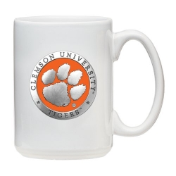 Clemson University White Coffee Cup - Enameled
