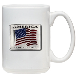 US Flag White Coffee Cup - Enameled