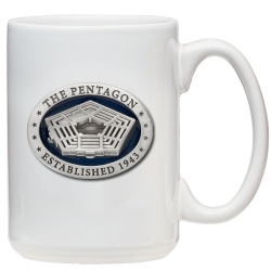 Pentagon White Coffee Cup - Enameled