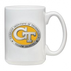 "Georgia Institute of Technology ""GT"" White Coffee Cup - Enameled"