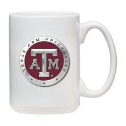 Texas A&M University White Coffee Cup - Enameled