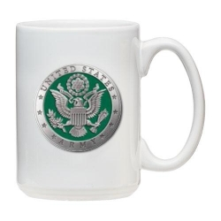 Army White Coffee Cup - Enameled