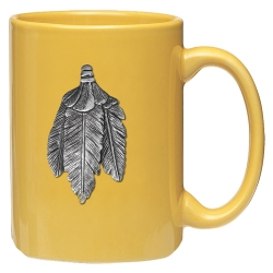Feathers Yellow Coffee Cup