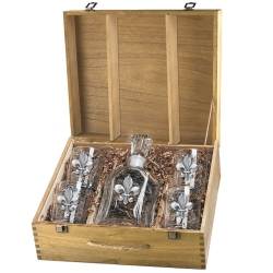 Fleur de Lis Capitol Decanter Set w/ Box