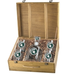 Michigan State University Capitol Decanter Set w/ Box - Enameled