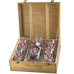 "University of Oklahoma ""OU"" Capitol Decanter Set w/ Box - Enameled"