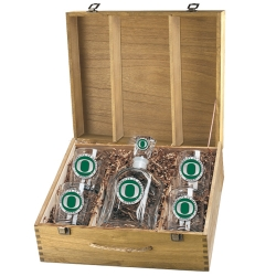 University of Oregon Capitol Decanter Set w/ Box - Enameled