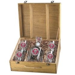 Virginia Military Institute Capitol Decanter Set w/ Box - Enameled