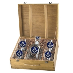 Masonic Square & Compass Capitol Decanter Set w/ Box - Enameled