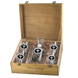 Texas Longhorn Capitol Decanter Set w/ Box - Enameled