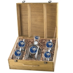 South Carolina Palmetto Capitol Decanter Set w/ Box - Enameled