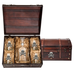 Skull & Bones Capitol Decanter Set w/ Chest