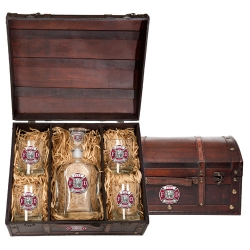 Firefighter Capitol Decanter Set w/ Chest - Enameled