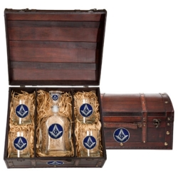 Masonic Square & Compass Capitol Decanter Set w/ Chest - Enameled