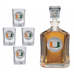 University of Miami Capitol Decanter Set - Enameled