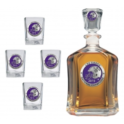 "2019 CFP National Champions Louisiana State University ""LSU"" Tigers Capitol Decanter Set - Enameled"