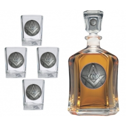 Masonic Square & Compass Capitol Decanter Set