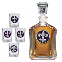 Fleur de Lis #3 Capitol Decanter Set - Enameled