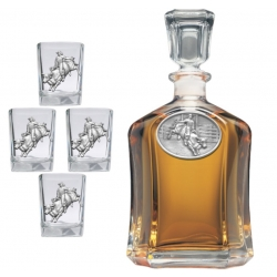 Bull Rider Capitol Decanter Set