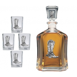 Cowboy Boot Capitol Decanter Set