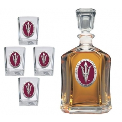"ASU ""Pitchfork"" Capitol Decanter Set - Enameled"