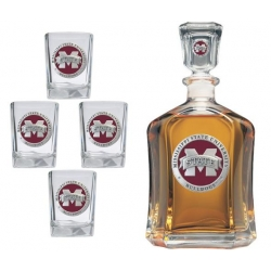 "Mississippi State University ""M"" Capitol Decanter Set - Enameled"