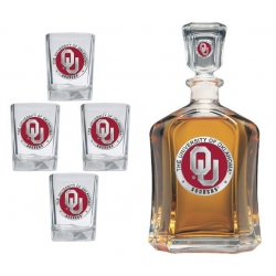 "University of Oklahoma ""OU"" Capitol Decanter Set - Enameled"