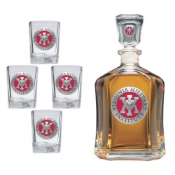 Virginia Military Institute Capitol Decanter Set - Enameled