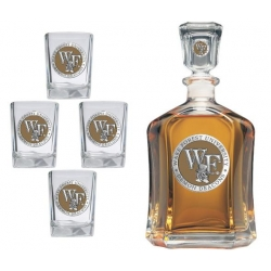 "Wake Forest University ""WF"" Capitol Decanter Set - Enameled"