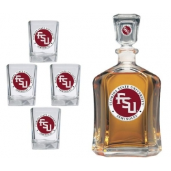 "Florida State University ""FSU"" Capitol Decanter Set - Enameled"