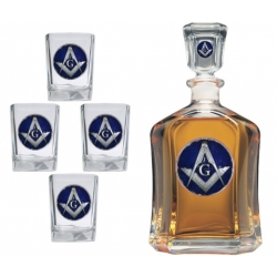 Masonic Square & Compass Capitol Decanter Set - Enameled