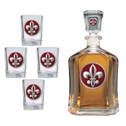 Fleur de Lis #2 Capitol Decanter Set - Enameled