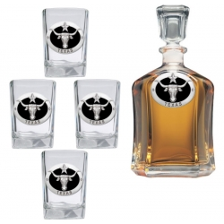 Texas Longhorn Capitol Decanter Set - Enameled