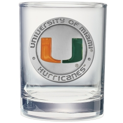 University of Miami Double Old Fashioned Glass - Enameled