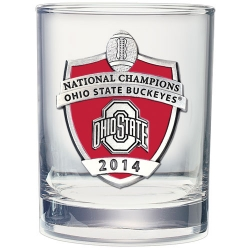 2014 BCS National Champions Ohio State Buckeyes Double Old Fashioned Glass - Enameled