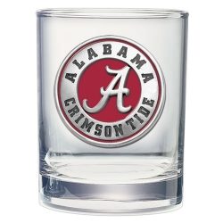 "Alabama ""A"" Crimson Tide Double Old Fashioned Glass - Enameled"