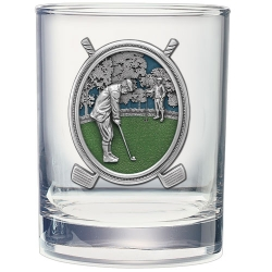"Golf ""Putter"" Double Old Fashioned Glass - Enameled"