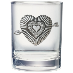 Heart Double Old Fashioned Glass