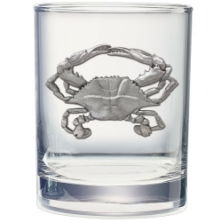 Blue Crab Double Old Fashioned Glass