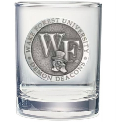 """Wake Forest University """"WF"""" Double Old Fashioned Glass"""