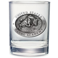 "Naval Academy ""Bill the Goat"" Double Old Fashioned Glass"