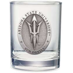 """ASU """"Pitchfork"""" Double Old Fashioned Glass"""