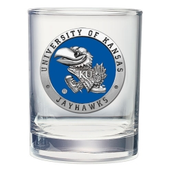 University of Kansas Double Old Fashioned Glass - Enameled