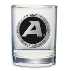 "Army ""Black Knight's"" Double Old Fashioned Glass - Enameled"
