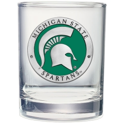 Michigan State University Double Old Fashioned Glass - Enameled